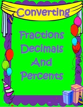 Fraction, Decimal & Percent Balloon Conversions