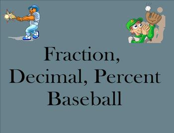 Fraction, Decimal, Percent Baseball