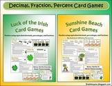 Fraction Decimal Percent Card Games