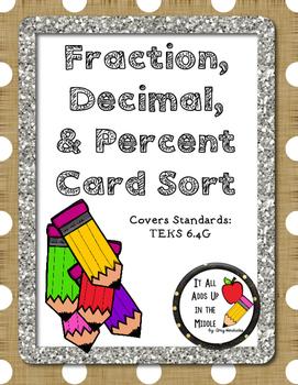 Fraction, Decimal, Percent Card Sort