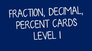 Equivalent Fraction, Decimal & Percent Cards Level 1