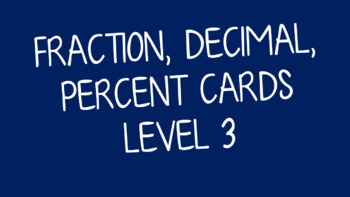 Equivalent Fraction, Decimal & Percent Cards Level 3