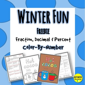 Winter Math Fraction, Decimal & Percent Color By Number - Free