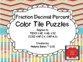 Fraction Decimal Percent Color Tile Puzzles