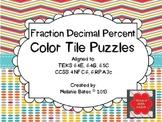 Fraction Decimal Percent Color Tile Puzzles