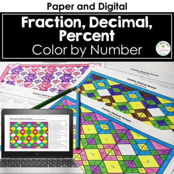 Fraction, Decimal, Percent Color by Number (Valentine Theme)