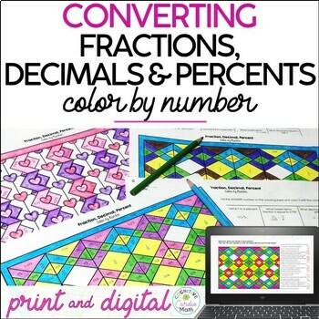 Fraction, Decimal, Percent Color by Number (Valentine Theme)
