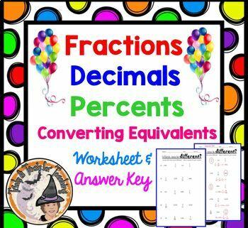 Fractions Decimals Percents Conversion FDP Converting Equivalents with KEY