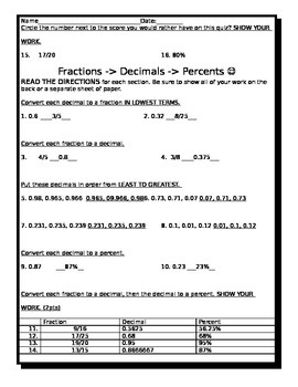 Fraction, Decimal, Percent Conversion Quiz