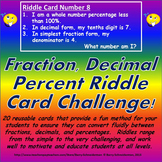 Fraction, Decimal, Percent Conversion Riddle Card Challenge Game
