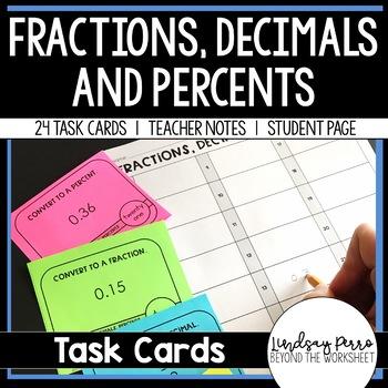Fraction Decimal Percent Conversion Task Cards