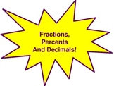 Fraction, Decimal, Percent Conversion Wall Hangings (Yellow And Purple)