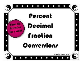 Fraction Decimal Percent Conversions