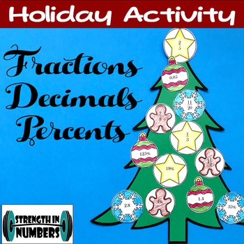 Fraction Decimal Percent Conversions Holiday Christmas Tree Activity
