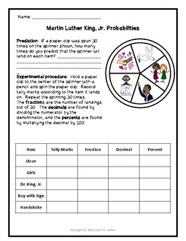 MLK Fraction, Decimal & Percent Conversions with Dr. King Jr.-Themed Spinner
