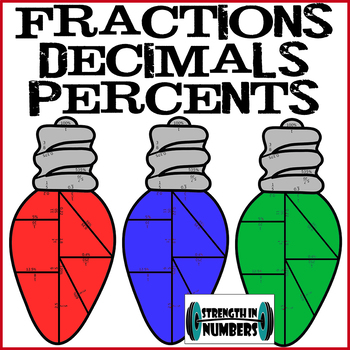 Fraction Decimal Percent Cooperative Christmas Lights Holiday Puzzle