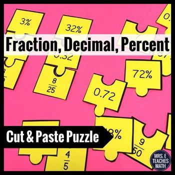 Fraction, Decimal, Percent Cut-Out Puzzle