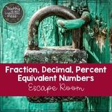 Fraction, Decimal, Percent Escape Room--Find Equivalent Numbers