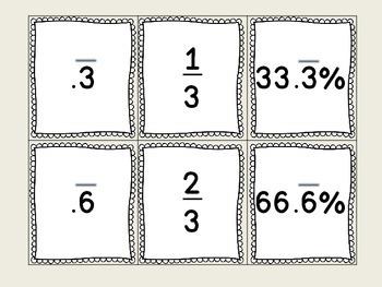 Fraction Decimal Percent Game Cards