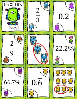Fraction, Decimal Percent Game- Marv the Monster (SOL 6.2 b and c)