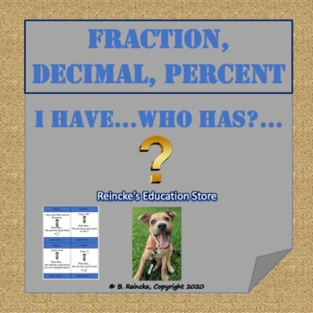 Fraction, Decimal, Percent I Have...Who Has...?