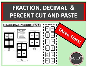 TIERED Fraction, Decimal & Percent IPHONE Cut and Paste!