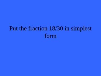 Fraction, Decimal, Percent Jeopardy