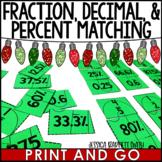 Fraction, Decimal, Percent Matching Christmas Activity FREEBIE