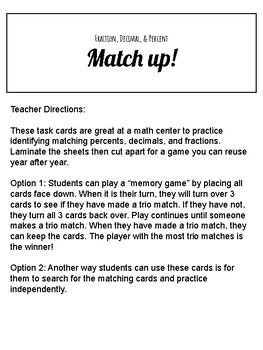 Fraction, Decimal, Percent Matching Game