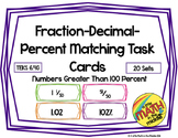 Fraction-Decimal-Percent Matching Task Cards TEKS 6.4G