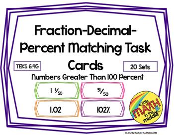 Fraction-Decimal-Percent Matching Task Cards TEKS 6.4G