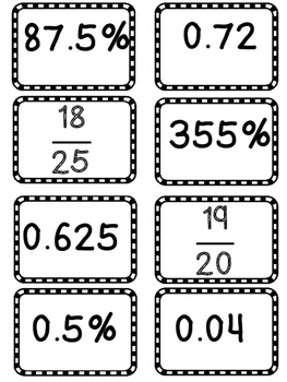 Fraction, Decimal, Percent Math Center