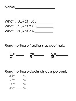 Fraction, Decimal, Percent {Practice Pages!}
