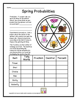 Spring-Themed Fraction, Decimal & Percent Probabilities Using a Spinner!