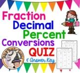 Fraction Decimal Percent Conversions QUIZ Converting FDP Table Practice Homework