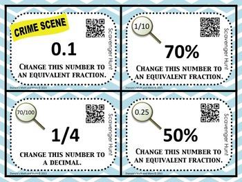 6th Grade Math Fraction Decimal Percent Scavenger Hunt CSI Tools