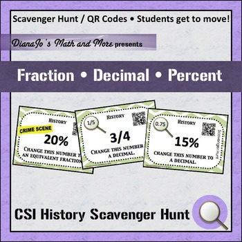 Fraction Decimal Percent Scavenger Hunt CSI History