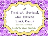 Fraction, Decimal, Percent Task Cards with QR Codes