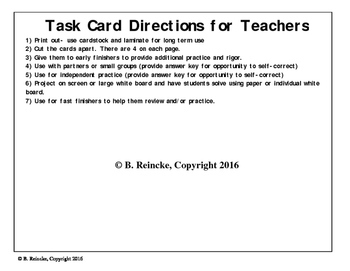 Fraction, Decimal, & Percent Task Cards