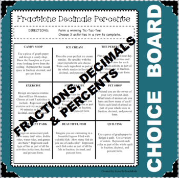 CHOICE BOARD Fraction Decimal Percent Differentiated NO PREP Early Finishers
