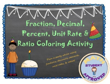 Fraction, Decimal, Percent, Unit Rate & Ratio Party Coloring Activity