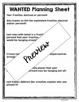 Fraction, Decimal, Percent Wanted Poster for Assessment, Bulletin Board, Centers
