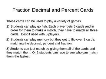 Fraction Decimal Percent cards