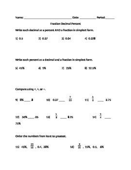 Fraction Decimal Percent conversion and compare