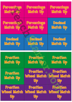 Fraction, Decimal, Percentage Match Up Game