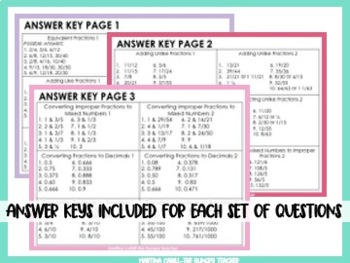 Fraction, Decimal, Percentage, & Mixed Numbers Packet