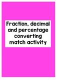 Fraction, Decimal & Percentage conversion matching game {3 games}