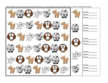 Fraction Decimal and Percent Animal Antics