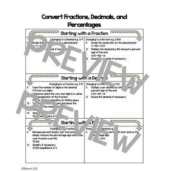 Fraction, Decimal, and Percent Conversions