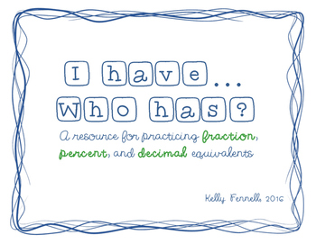 Fraction, Decimal, and Percent Equivalents:  I Have... Who Has?